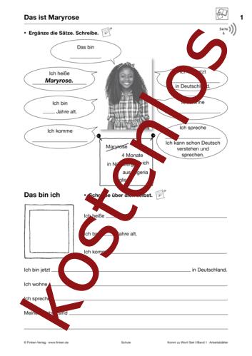 Vorschaugrafik 1 für das kostenlose Arbeitsblatt Komm zu Wort: Das ist Maryrose von Lehrermaterial.de.