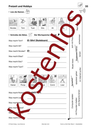 Vorschaugrafik 1 für das kostenlose Arbeitsblatt Komm zu Wort: Freizeit und Hobbys von Lehrermaterial.de.