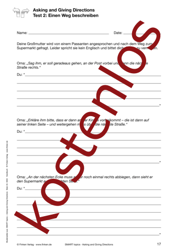 Vorschaugrafik 1 für das kostenlose Arbeitsblatt SMART topics - Asking and Giving Directions von Lehrermaterial.de.
