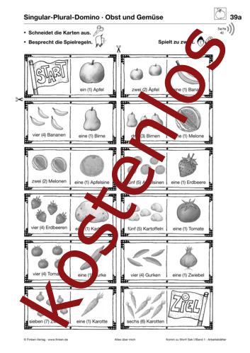 Vorschaugrafik 1 für das kostenlose Arbeitsblatt Komm zu Wort: Singular-Plural-Domino von Lehrermaterial.de.