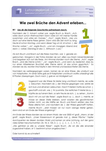 Vorschaugrafik 1 für das  Arbeitsblatt Wie zwei Brüche den Advent erleben von Lehrermaterial.de.