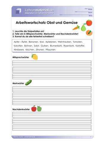 Vorschaugrafik 1 für das  Arbeitsblatt Arbeitswortschatz Obst und Gemüse von Lehrermaterial.de.