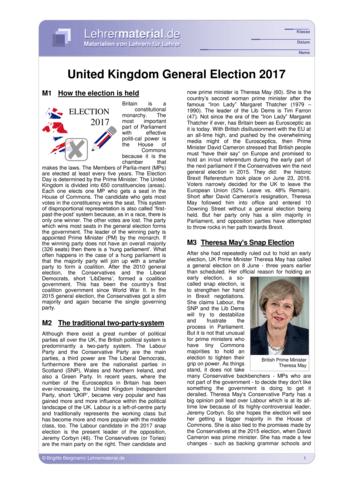 Vorschaugrafik 1 für das  Arbeitsblatt United Kingdom General Election 2017 von Lehrermaterial.de.
