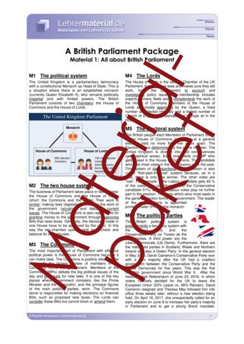 Vorschaugrafik 1 für das  Arbeitsblatt A British Parliament Package von Lehrermaterial.de.