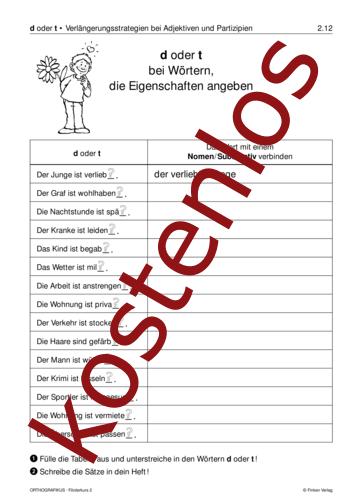 Vorschaugrafik 1 für das kostenlose Arbeitsblatt d oder t bei Wörtern, die Eigenschaften angeben von Lehrermaterial.de.