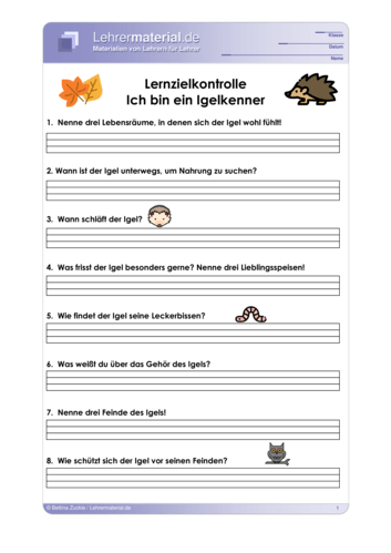 Vorschaugrafik 1 für das  Arbeitsblatt Ich bin ein Igelkenner (Lernzielkontrolle) von Lehrermaterial.de.