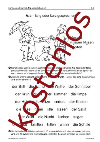 Vorschaugrafik 1 für das kostenlose Arbeitsblatt A/a – lang oder kurz gesprochen? von Lehrermaterial.de.