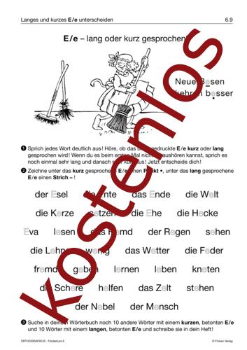 Vorschaugrafik 1 für das kostenlose Arbeitsblatt E/e – lang oder kurz gesprochen? von Lehrermaterial.de.