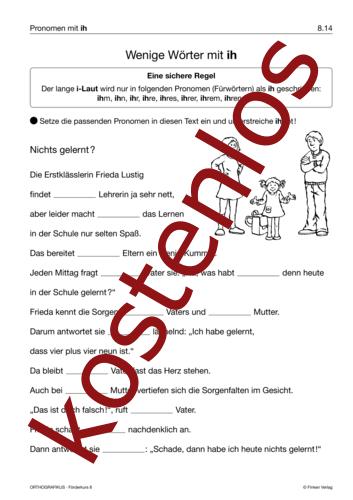 Vorschaugrafik 1 für das kostenlose Arbeitsblatt Wenige Wörter mit ih von Lehrermaterial.de.