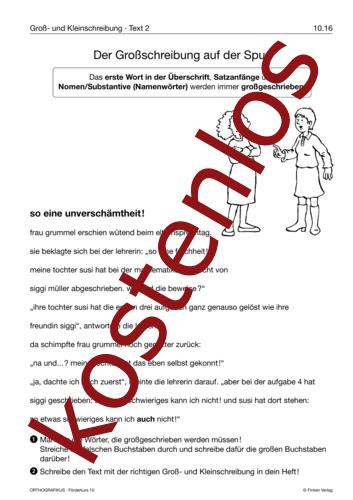 Vorschaugrafik 1 für das kostenlose Arbeitsblatt Der Großschreibung auf der Spur von Lehrermaterial.de.