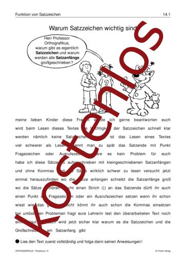 Vorschaugrafik 1 für das kostenlose Arbeitsblatt Warum Satzzeichen wichtig sind von Lehrermaterial.de.