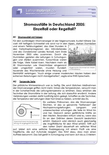 Vorschaugrafik 1 für das  Arbeitsblatt Stromausfälle in Deutschland 2005: Einzelfall oder Regelfall? von Lehrermaterial.de.