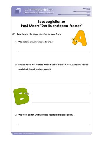 Vorschaugrafik 1 für das  Arbeitsblatt Lesebegleiter zu Paul Maars »Der Buchstaben-Fresser« von Lehrermaterial.de.
