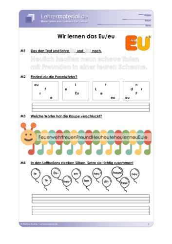 Vorschaugrafik für das  Arbeitsblatt Wir lernen das Eu/eu von Lehrermaterial.de