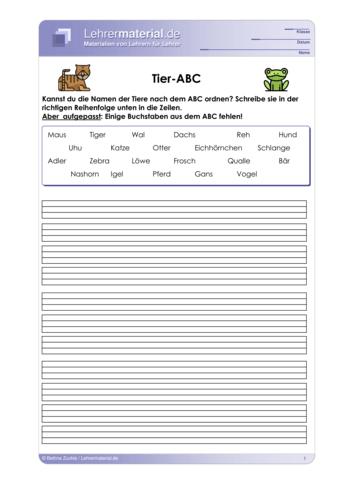 Vorschaugrafik für das  Arbeitsblatt Tier-ABC von Lehrermaterial.de