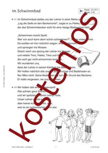 Vorschaugrafik 1 für das kostenlose Arbeitsblatt Hören differenziert: Im Schwimmbad von Lehrermaterial.de.