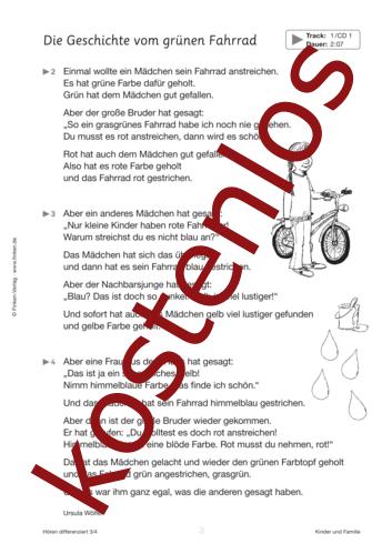 Vorschaugrafik 1 für das kostenlose Arbeitsblatt Hören differenziert: Das grüne Fahrrad von Lehrermaterial.de.