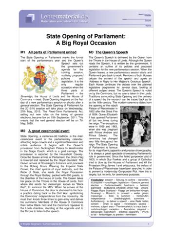 Vorschaugrafik 1 für das  Arbeitsblatt State Opening of Parliament: A Big Royal Occasion von Lehrermaterial.de.