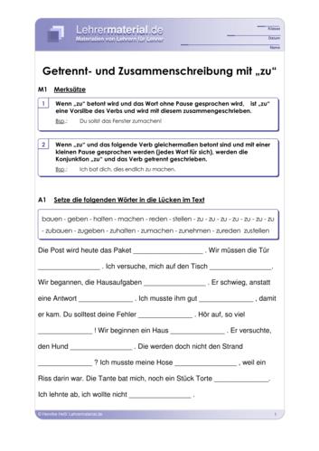Vorschaugrafik 1 für das  Arbeitsblatt Getrennt- und Zusammenschreibung mit zu  von Lehrermaterial.de.