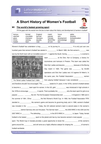 Detailseite für das  Arbeitsblatt A Short History of Women's Football öffnen