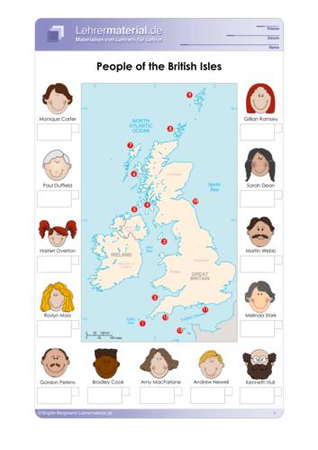 Vorschaugrafik für das  Arbeitsblatt People of the British Isles von Lehrermaterial.de