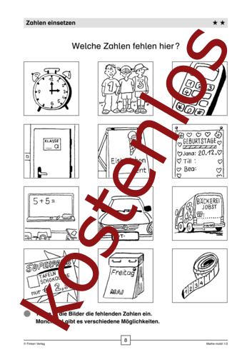 Vorschaugrafik 1 für das kostenlose Arbeitsblatt Welche Zahlen fehlen hier? von Lehrermaterial.de.
