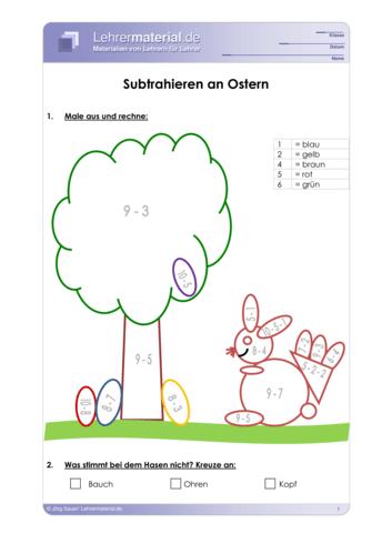 Vorschaugrafik 1 für das  Arbeitsblatt Subtrahieren an Ostern von Lehrermaterial.de.