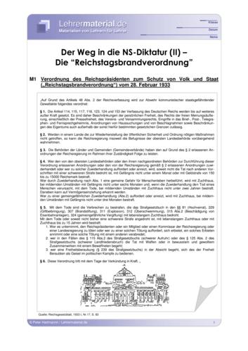 Vorschaugrafik 1 für das  Arbeitsblatt Der Weg in die NS-Diktatur (II) - Die Reichstagsbrandverordnung von Lehrermaterial.de.