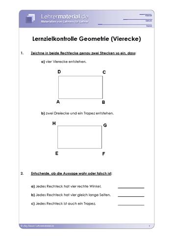 Vorschaugrafik 1 für das  Arbeitsblatt Lernzielkontrolle Geometrie (Vierecke) von Lehrermaterial.de.