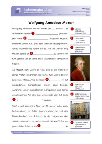 Vorschaugrafik für das  Arbeitsblatt Wolfgang Amadeus Mozart von Lehrermaterial.de