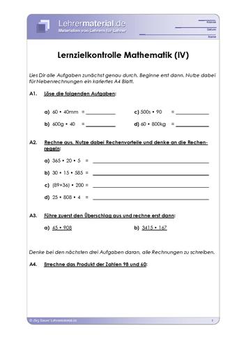 Vorschaugrafik 1 für das  Arbeitsblatt Lernzielkontrolle Mathematik (IV) von Lehrermaterial.de.