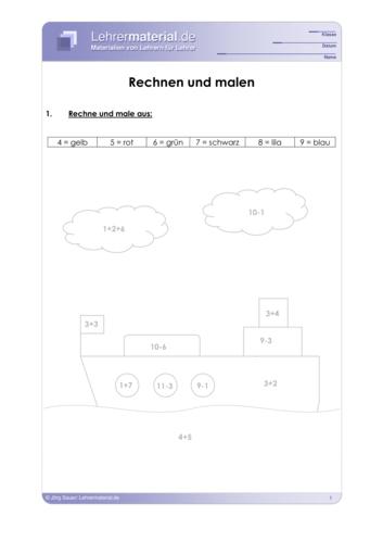 Vorschaugrafik 1 für das  Arbeitsblatt Rechnen und malen von Lehrermaterial.de.