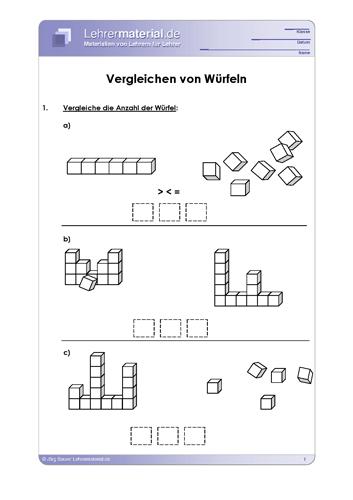 Vorschaugrafik 1 für das  Arbeitsblatt Vergleichen von Würfeln von Lehrermaterial.de.