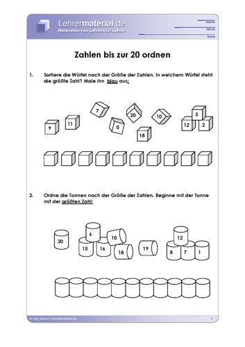 Vorschaugrafik 1 für das  Arbeitsblatt Zahlen bis zur 20 ordnen von Lehrermaterial.de.