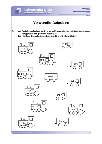 Vorschaugrafik 1 für das  Arbeitsblatt Verwandte Aufgaben von Lehrermaterial.de.