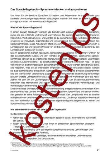 Vorschaugrafik 1 für das kostenlose Arbeitsblatt Lernszenarien (III) - Sprach-Tagebuch von Lehrermaterial.de.