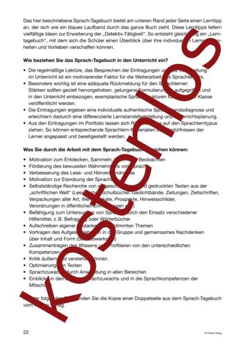Vorschaugrafik 1 für das kostenlose Arbeitsblatt Lernszenarien (III) - Sprach-Tagebuch (2) von Lehrermaterial.de.