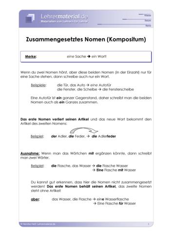 Vorschaugrafik 1 für das  Arbeitsblatt Zusammengesetztes Nomen (Kompositum) von Lehrermaterial.de.