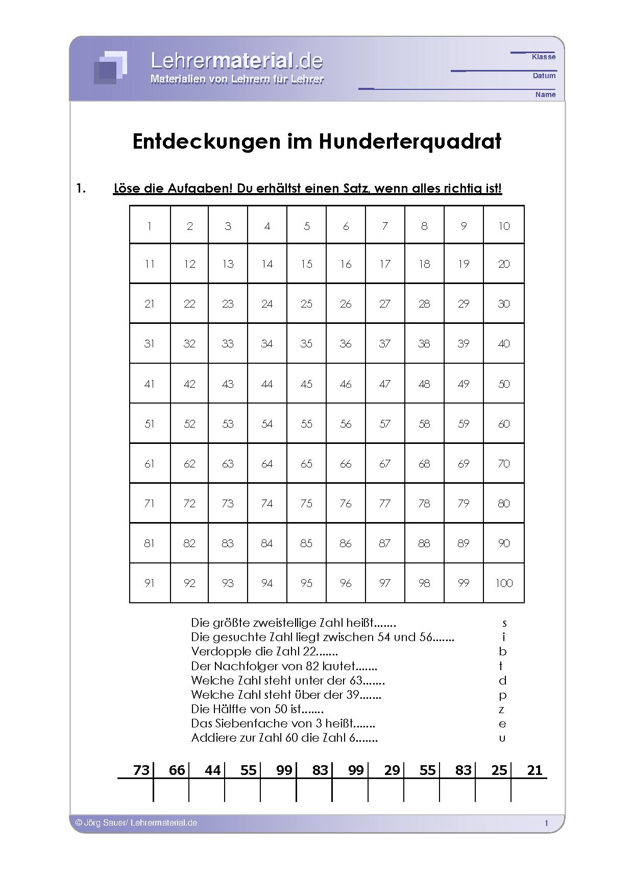 Vorschaugrafik 1 für das  Arbeitsblatt Entdeckungen im Hunderterquadrat von Lehrermaterial.de.