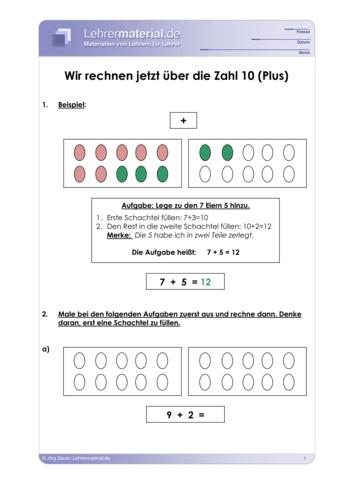 Vorschaugrafik 1 für das  Arbeitsblatt Wir rechnen über die Zahl 10 von Lehrermaterial.de.