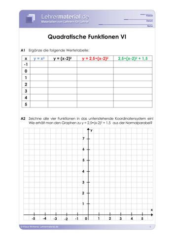 Vorschaugrafik 1 für das  Arbeitsblatt Quadratische Funktionen VI von Lehrermaterial.de.