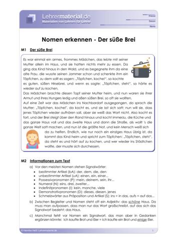 Vorschaugrafik 1 für das  Arbeitsblatt Nomen erkennen - Der süße Brei von Lehrermaterial.de.