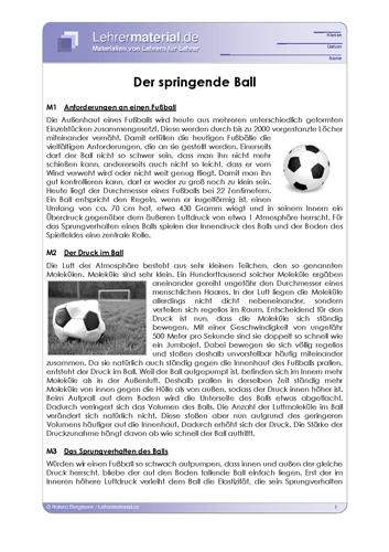 Vorschaugrafik 1 für das  Arbeitsblatt Der springende Ball von Lehrermaterial.de.
