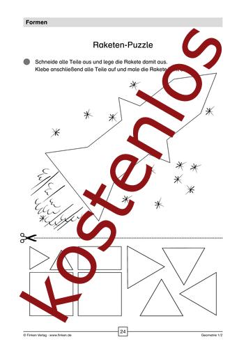Vorschaugrafik 1 für das kostenlose Arbeitsblatt Raketen-Puzzle von Lehrermaterial.de.