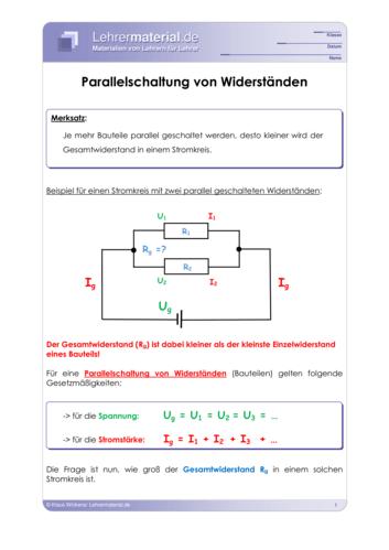 Vorschaugrafik für das  Arbeitsblatt Parallelschaltung von Widerständen von Lehrermaterial.de
