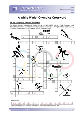 Vorschaugrafik 1 für das  Arbeitsblatt A White Winter Olympics Crossword von Lehrermaterial.de.