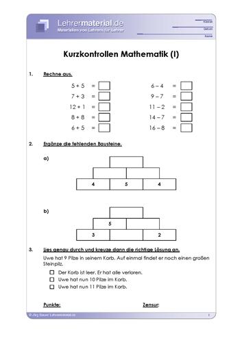 Vorschaugrafik 1 für das  Arbeitsblatt Kurzkontrollen Mathematik von Lehrermaterial.de.