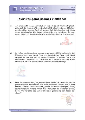 Vorschaugrafik 1 für das  Arbeitsblatt Kleinstes gemeinsames Vielfaches von Lehrermaterial.de.