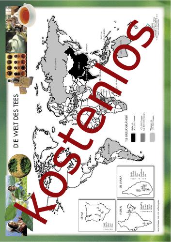 Vorschaugrafik für das kostenlose Arbeitsblatt Die Welt des Tees - Übersichtskarte von Lehrermaterial.de