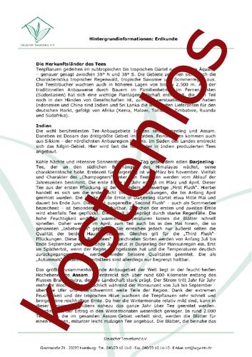 Vorschaugrafik für das kostenlose Arbeitsblatt Die Welt des Tees  von Lehrermaterial.de